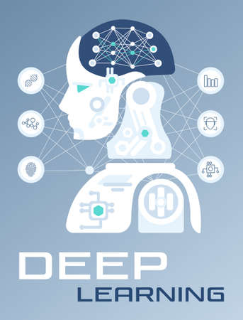 Abstract Machine and Deep Learning, Artificial Intelligence Stockfoto