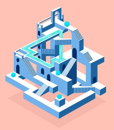 Construction abstraite avec secrets, labyrinthe avec secrets