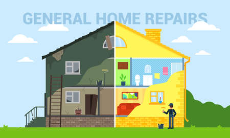 General home repairs flat style vector illustration. Фото со стока
