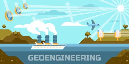 Geoengineering concept vector illustration, altering, atmosphere biosphere ceres Illustration