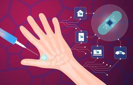 Implante de microchip humano en la ilustración de vector de mano