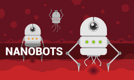 Vector illustration with cartoon flat nanobots in blood concept. Illustration