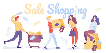 Sale Shopping. Happy shopping people. Man, woman and shoppers with gift boxes and shopping bags. Vector cartoon characters set. Woman and man cartoon shopper, buyer with bag purchase.