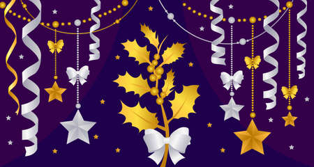 Gold Christmas decorations on a purple background. New year gold decorations with garlands. Vector illustration Ilustração