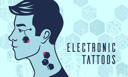 human face combined with electronic chips, concept of futuristic advance technology. electronic tattoos Ilustração