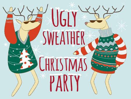 Hässliche Pullover Weihnachtsfeier Illustration, Weihnachtspullover Vektorgrafik