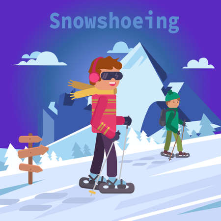 Male and snowshoes, flat vector illustration