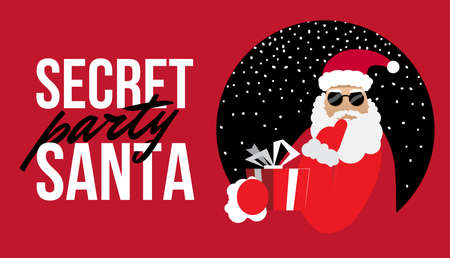 Cartoon Secret Santa Perty Weihnachten flache Illustration Vektorgrafik