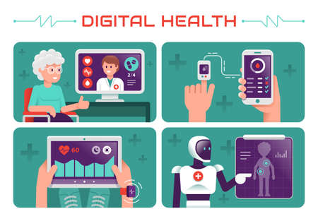 Vector modern creative infographics design on modern high tech devices using in everyday life showing old woman tracking her health condition