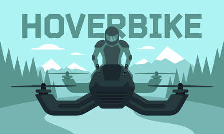 Vector illustration of hover bike rider in riding suit and protective gear riding hoverbike, the next generation of transportation.