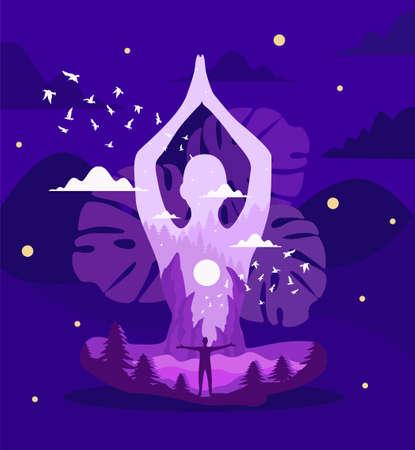 meditation abstract vector illustration. concept of health Ilustração