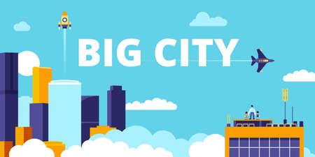 Urban landscape with skyscrapers. Clean futuristic sterile city. Vector illustration.