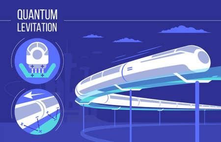 High speed futuristic quantum levitation train. vector illustration. Future express railroad and transport design concept. Illustration