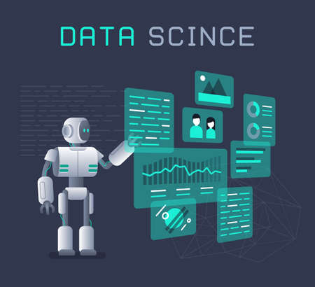 Modern robot working with analytics data pie charts and graphs. Bot marketing, automated data analysis, automated data collection concept. Ilustração