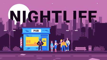Colourful illustration of nightlife in the city Stock Illustratie