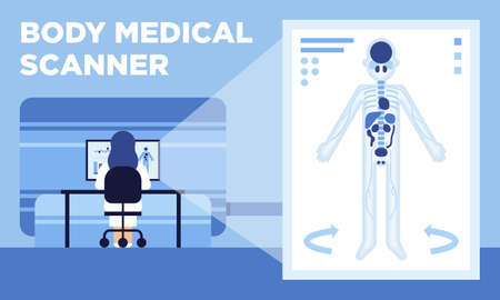 A new great medical invention. The worlds first medical scanner which rapidly makes three-dimensional images of human body and minimizes the radiation level Illustration