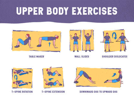 This colourful illustration demonstrates in detail how to execute correctly exercises for the upper body