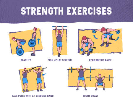 This colourful illustration demonstrates in detail how to execute correctly strength exercises for the core muscle group