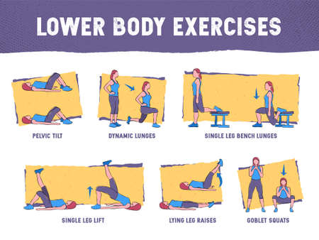 This colourful illustration demonstrates in detail how to execute correctly lower body exercises