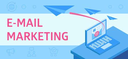 This illustration describing e-mail marketing, as a modern business tool Ilustração