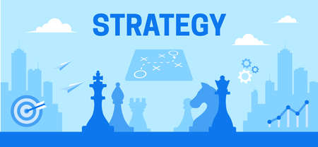 This color illustration show chess as a symbol of strategic thinking and important decisions, as well as the background of a modern city, a graph of growth, solutions and hitting the target