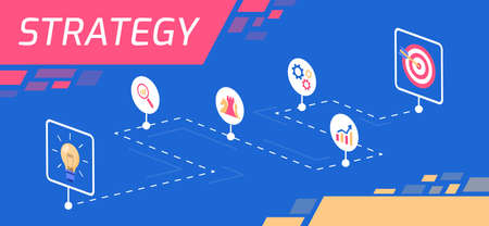 This color illustration shows the symbols of the strategy idea, solution search, tactics, a growth of graphs, mechanism, technology and goal achievement Ilustração