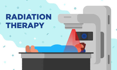 Colorful illustration of radiation therapy in a modetn