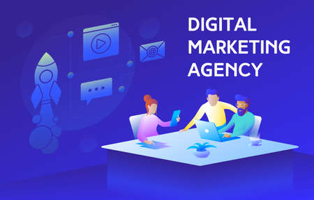 This colorful illustration shows the workflow of a digital marketing agency. There are men and women sitting at the table and discussing marketing strategy. This illustration also depicts a laptop, tablet, business documents, as well as a rocket, as a symbol of the uplifting, growth, success, positive dynamics
