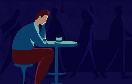 This illustration shows a sad man sitting at a table, he is in depression, the world around him has lost all color and seems faceless Ilustrace
