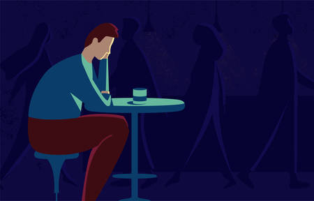 llustration of a man who is depressed
