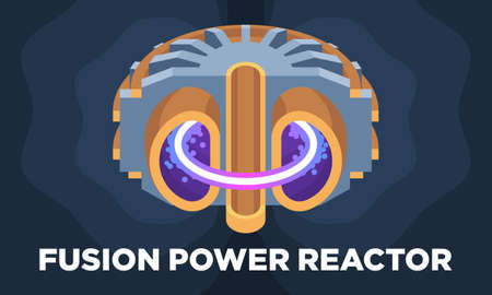 A colorful illustrated model of a fusion power reactor