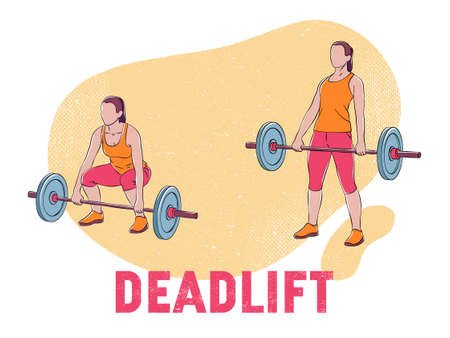 This color illustration shows a woman doing deadlift exercise with a barbell
