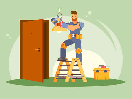 This illustration shows a male electrician in protective gloves, hi repairing a chandelier. Electrician stands on a stepladder, in his hands a screwdriver and pliers, next to him is a box with instruments.
