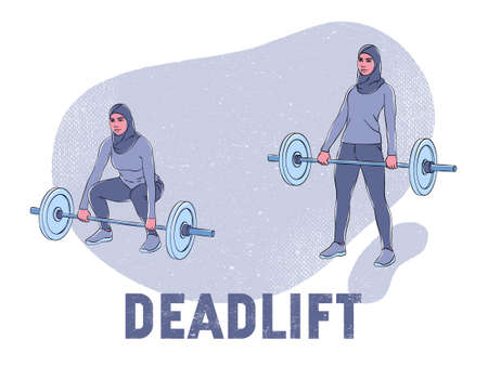 This colorful illustration shows a woman in a hijab who is doing a deadlift exercise with a barbell
