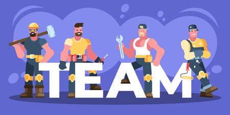 This illustration depicts male workers, a builder, an electrician, a plumber, and a house painter. They are dressed in protective clothing and are holding working tools, a sledgehammer, a screwdriver, a monkey wrench, a paint roller. Ilustração