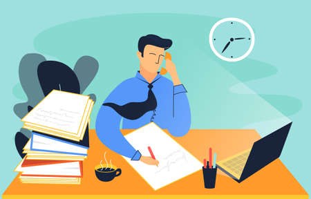 This illustration shows a man wearing a tie. He is sitting at the table, holding a phone with his hand and writing on a paper. On the table, there are a laptop, pencil box with ballpoint pens, cup of coffee, folders with documents. And there is a clock hanging on the wall Çizim