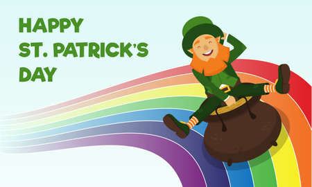 This illustration shows Saint Patrick in a green hat and jacket, which symbolize spring and shamrock, he rides in a pot of gold in a rainbow