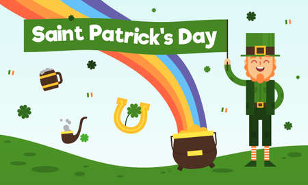 This illustration depicts Saint Patrick, wearing a green hat and a green jacket, they symbolize spring and the trefoil. Also, on the illustration, there is a rainbow, pot of gold, a smoking pipe, wooden beer mug, the flag of Ireland and a horseshoe as a symbol of good luck