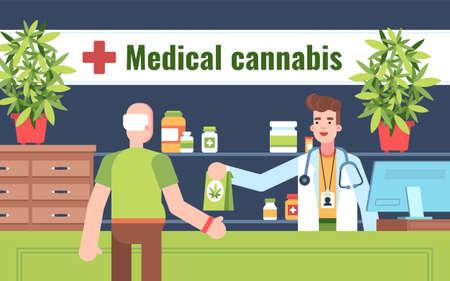 Esta ilustración muestra a una persona que compra cannabis medicinal en una farmacia. Un empleado de farmacia lleva una bata médica blanca, un estetoscopio y una etiqueta con su nombre. También hay suministros médicos en los estantes detrás del trabajador de la farmacia. Ilustración de vector