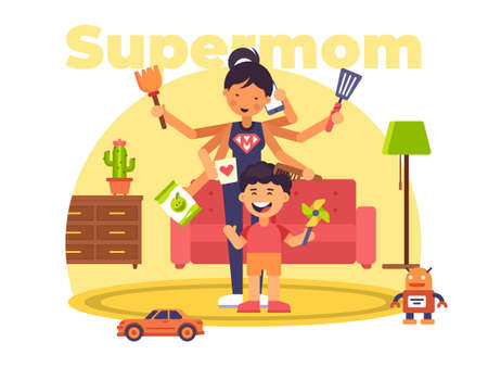 A colourful illustration of a supermom who has superpowers Stock Illustratie
