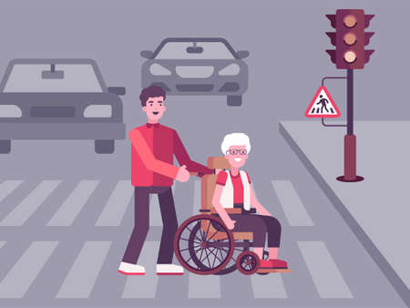 Colourful illustration on which a young man helps an old woman Çizim