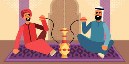 This illustration shows two Arab men in traditional Middle Eastern clothes, they are sitting on the carpet and smoking hookah