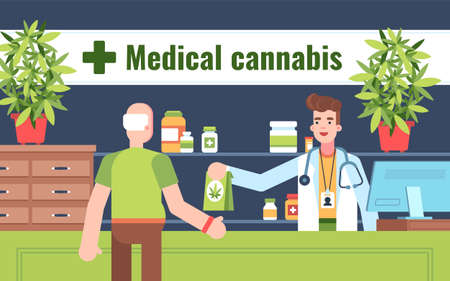 This illustration shows a person who is buying medical cannabis at a pharmacy. A pharmacy worker is wearing a white medical robe, stethoscope and name tag. There are also medical supplies on the shelves behind the pharmacy worker