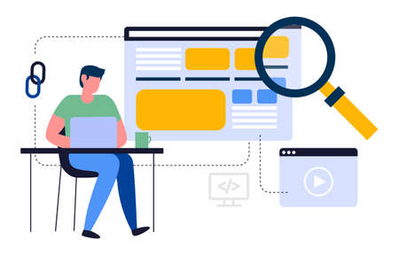 This illustration shows a young man working on a laptop, he is searching for the necessary information using a user-friendly interface Vector Illustratie