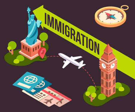 Colorful illustration of immigration from one country to another