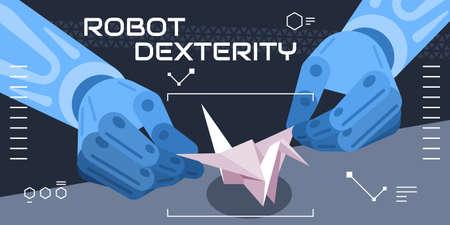 Colourful vector illustration showing robot dexterity, fantasy Vektoros illusztráció