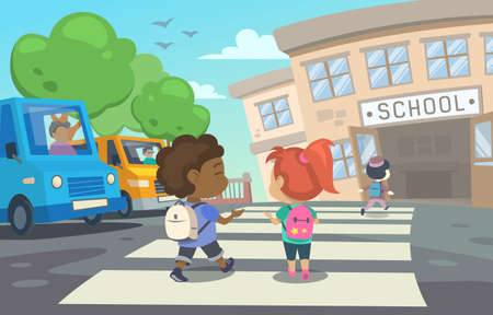 This illustration shows children with school bags who are returning to school Illustration