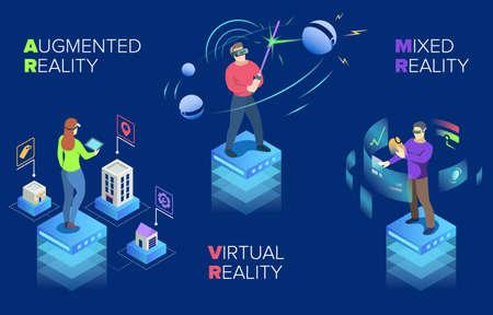 Moderne Technologie der bunten Vektorillustration, virtuelle Realität, gemischte Realität