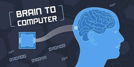 Flat vector illustration of brain to computer