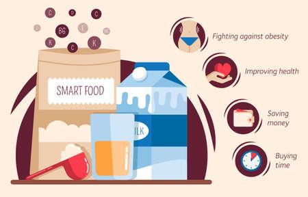Vector flat vector illustration of smart food Ilustração